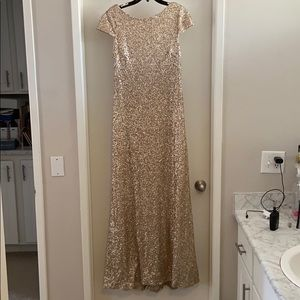 Sorella vita gold sequin bridesmaid dress